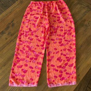 Natori pink blossoms orange sheer pants